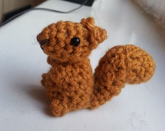 Bitty Squirrel - cute amigurumi crochet plush stuffed miniature micro chipmunk forest woodland animals