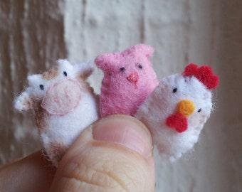 Kawaii Farm Animals - miniature farm animals - felt farm animals - felt play sets -  farm play set -