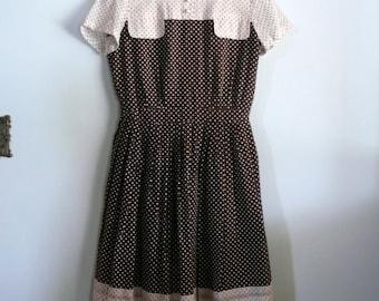 vintage 1960s Dress  // Brown Polka Dot Dress