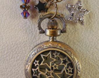 Vintage Star Pocket Watch Charm Necklace