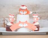 Fox woodland birthday Party printable decor kit cute fox cupcake topper cupcake wraps print at home birthday party fox woodland cupcakes