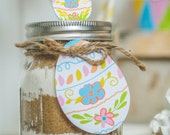 Easter printable mason jar gift tag and label kit.  Includes easter egg gift tags and lid topper great for easter brunch party or cookie mix