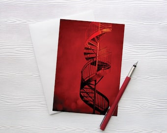 Montreal Art Greeting Card Architecture Staircase Red - Cherry Twist