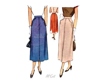 Vintage 1940s Skirt Sewing Pattern McCall 7642, Front Slit, Mid Calf Length Skirt with Pockets, Waist 24 Hip 33
