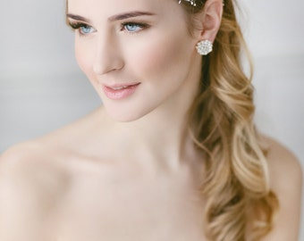 Bridal Hair Accessories, Wedding Pearl  Headpiece , Bridal  Headdress, Wedding Pearl Headband , Ivory Baby's Breath Headpiece