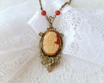vintage cameo necklace, silver over brass, 2 carnelian beads. ornate design, vintage jewelry, c. 1920
