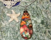 Rainbow Variscite (D) Teardrop Pendant Necklace with Sterling Silver Chain Made in Newfoundland