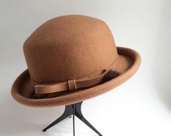 Vintage Brown Wool Derby/ Bowler Hat Liz Claiborne Mink Puffs Equestrian