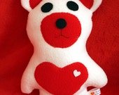 White and Red Bear with Heart - BabySafe - Valentine Bear - Stuffie - Stuffed Animal - Plushie