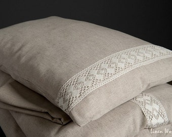 Linen Pillow Case decorated with linen lace. Natural Gray Linen Cotton Pillow Shams, Linen Pillow Covers. Linen Cushion Cover