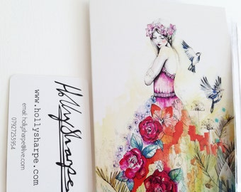 Greeting card of original illustration, 'Whisper', by Holly Sharpe // fashion illustration // watercolour