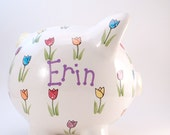 Tulip Piggy Bank - Personalized Piggy Bank - Nature Theme Bank - Flower Bank - Garden Theme Bank - with hole or NO hole in bottom - USA made