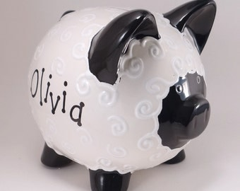Black & White Lamb Piggy Bank - Personalized Piggy Bank - Lamb Bank - Farm Animal Bank - Baby Shower Gift - with hole or NO hole in bottom