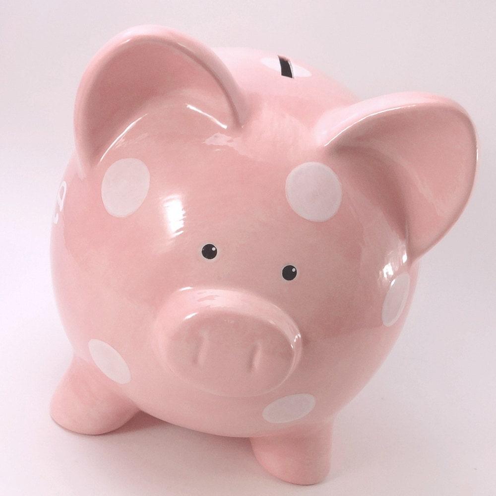 White Polka Dot Piggy Bank Personalized Piggy Bank Cute