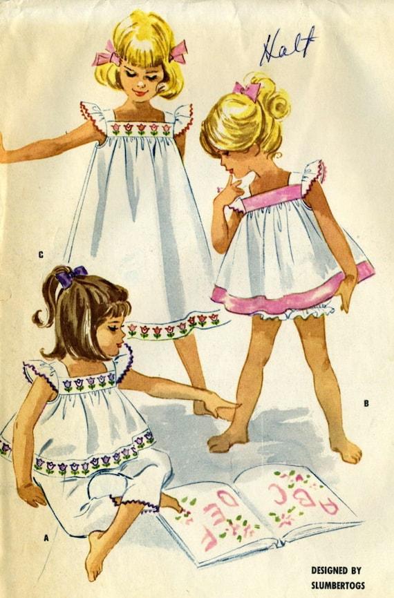 Vintage McCalls 5912 Toddler Girls Baby Doll Pajamas