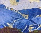 Landscape Mountains Art Fine Art Print of Original Mixed Media Collage