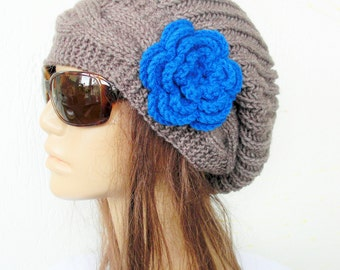 Hand Knit Hat- Womens hat Boho Hat  chunky oversized  knit Slouchy Beanie  Slouch  Hat Flower  Fall Winter Accessories  taupe Autumn Fashion
