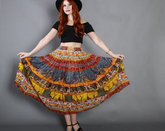 80s GAUZE Ethnic Novelty Print SKIRT / 1980s Moon Stars Oceanside Village Midi
