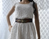 Vintage 80s upcycled white lace summer dress vintage doilies sewn on womens small vintage belt included