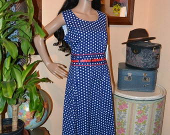 Classic white Polka Dot  on navy Dress by Robbie Bee Pin Up Style size 12