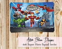 Super Hero Squad Invitation - Super Hero Birthday Party Invite - DIY Printable
