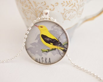 postage stamp pendant, pretty bird necklace, upcycled postage stamp vintage 1966, hipster jewelry