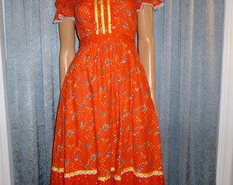 "Vintage 60's or 70's - Candi Jones - Red - Floral - Novelty Print - Embellished Lace/Ribbon - Cotton - Summer -  Day Dress  - Bust 32"""