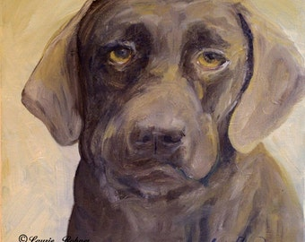 Dog Art Pet Portrait Original Oil Painting Brown Chocolate Lab
