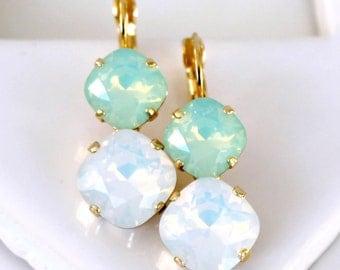 Chrysolite and White Opal Swarovski Crystals set in Gold Leverback Earrings, Opal Dangle Earrings