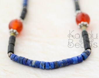 Lapis 2mm heishi with Onyx,  Carnelian 2mm Ready to wear necklace 16""