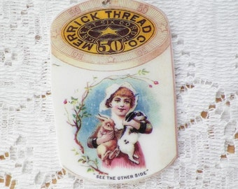 Spool of Thread / Merrick Thread Vintage Image Key Chain / Keychain, Rabbit / Rabbits, Bunny / Bunnies and Girl, Quilter, Sewer, Stitcher