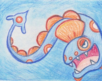 Original Art - Pokemon Drawing - ACEO - Huntail. Water Pokemon Gift. Anime Gift. Gamer Gift. Eel. corlista. korlista. Savannah Mitchell art.