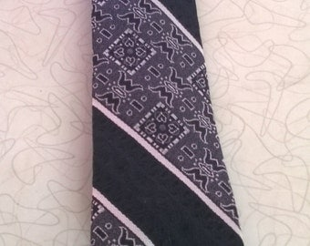 Vintage 1960s Necktie by Damon from S & Q Clothiers, Skinny Black Silver and White Tie