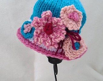 KNIT HAT PATTERN, Fantasia, baby, child, adult - Knitting Pattern for fantastic colorful dressy hat #240-L, all sizes