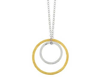 Two Silver and Gold Circles Pendant Necklace