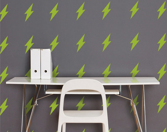 lightning bolt vinyl wall decal set, lightning pattern stickers, thunder, storm, FREE SHIPPING