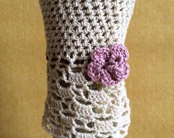 Fingerless Crochet Gloves - Flower Trim
