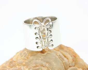 Handmade Ring, Sterling Silver Ring,  Wide Band Ring,  Statement Ring,  Corset Ring