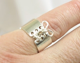 Mini Corset Ring Sterling Silver Tied Up Corset Ring Auralee & Company