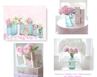 Pink Flower Pictures, Pink Peonies Roses Print Set, Baby Girl Nursery Decor, Dreamy Pink Aqua Girls Room Nursery Prints, Shabby Chic Decor
