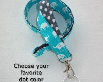 Lanyard  ID Badge Holder - Lobster clasp and key ring - design your own - white elephants turquoise - gray dots - two toned double sided