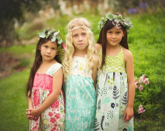Girl's Dress - (on Left) Flutter Sleeve Dress - Floral with Coral Bodice - Quality Handmade Children's clothing by bitty bambu
