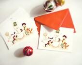 Christmas Card Set, Christmas Postcard Set, Holiday Postcard Set, Holiday Card Christmas, Xmas Card, Postcard - Dance Mr Snowman - Set of 5