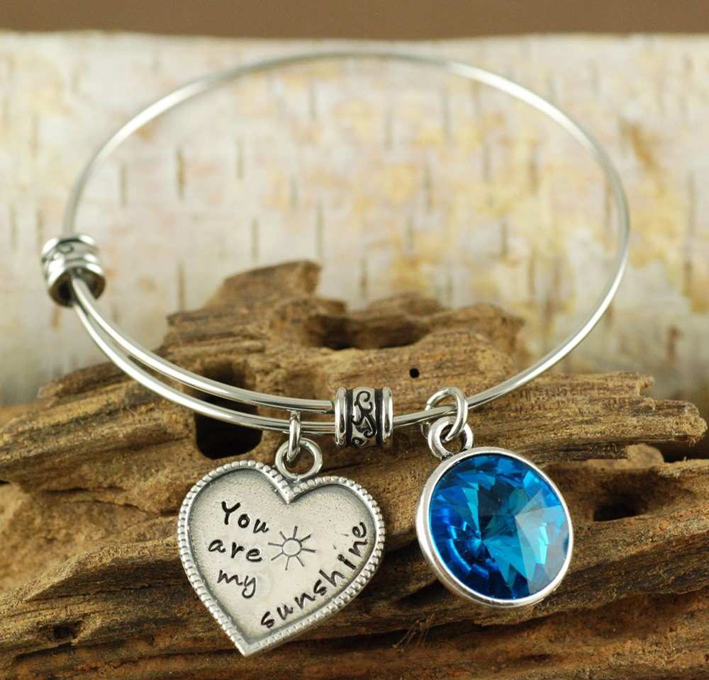 Personalized Charm Bracelet: You Are My Sunshine Bracelet Personalized Bangle By AnnieReh
