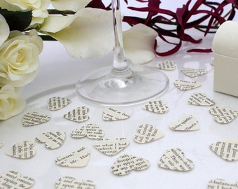 Wedding confetti paper heart- 200 vintage story book die cut small punched hearts 25mm by 24mm- Great romantic table decoration