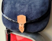 NEW! Blue Suede & Patent Leather Saddle Bag