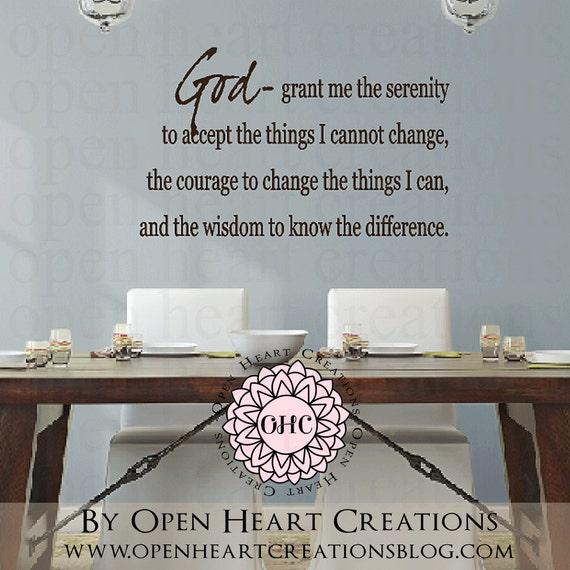 Serenity Prayer Vinyl Wall Decal - God grant me the serenity vinyl wall decal lettering quote prayer poem 22H X 36W Qt0076
