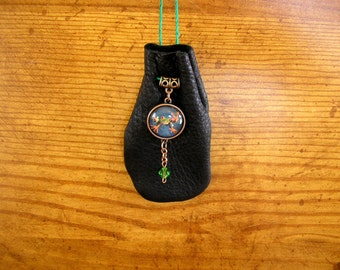 "Peace Frog, Black Leather pouch with a  glass charm and a crystal bead, 40"" long beaded, adjustable hemp cord, pouch is 3.5"" x 2.5"""
