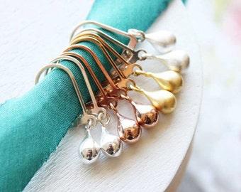 Small Rose Gold Earrings, Pink Gold Earrings, Dainty Everyday Jewelry, Leverback Earrings, Teardrop Dangle, Drop Earrings, Simple Earrings