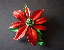 Vintage - Christmas Pin - Red Poinsettia - Christmas from the 1960s  - Retro Christmas Accessory - Happy and Bright Pin